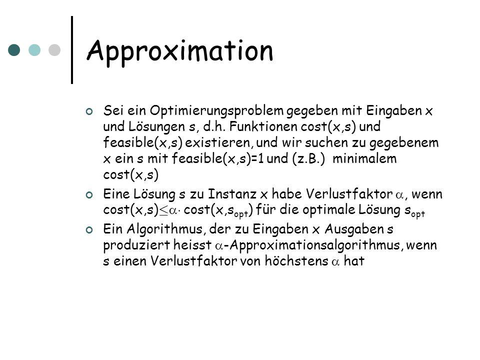 Approximation Sei ein Optimierungsproblem gegeben mit Eingaben x und Lösungen s, d.h.