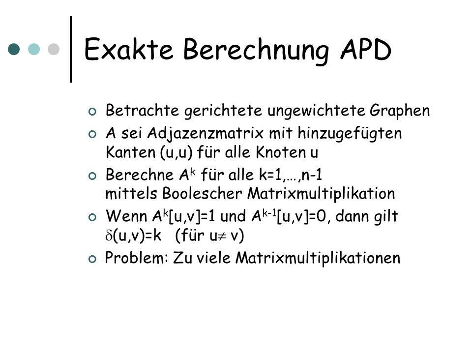 Exakte Berechnung APD Betrachte gerichtete ungewichtete Graphen A sei Adjazenzmatrix mit hinzugefügten Kanten (u,u) für alle Knoten u Berechne A k für alle k=1,…,n-1 mittels Boolescher Matrixmultiplikation Wenn A k [u,v]=1 und A k-1 [u,v]=0, dann gilt (u,v)=k (für u v) Problem: Zu viele Matrixmultiplikationen