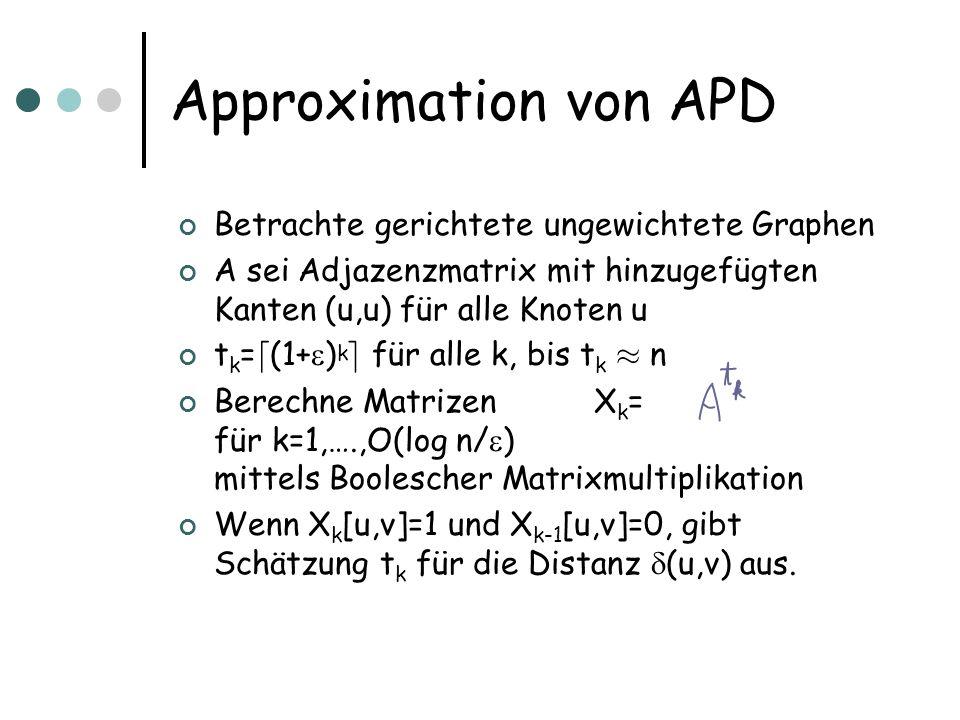Approximation von APD Betrachte gerichtete ungewichtete Graphen A sei Adjazenzmatrix mit hinzugefügten Kanten (u,u) für alle Knoten u t k = d (1+ ) k e für alle k, bis t k ¼ n Berechne Matrizen X k = für k=1,….,O(log n/ ) mittels Boolescher Matrixmultiplikation Wenn X k [u,v]=1 und X k-1 [u,v]=0, gibt Schätzung t k für die Distanz (u,v) aus.