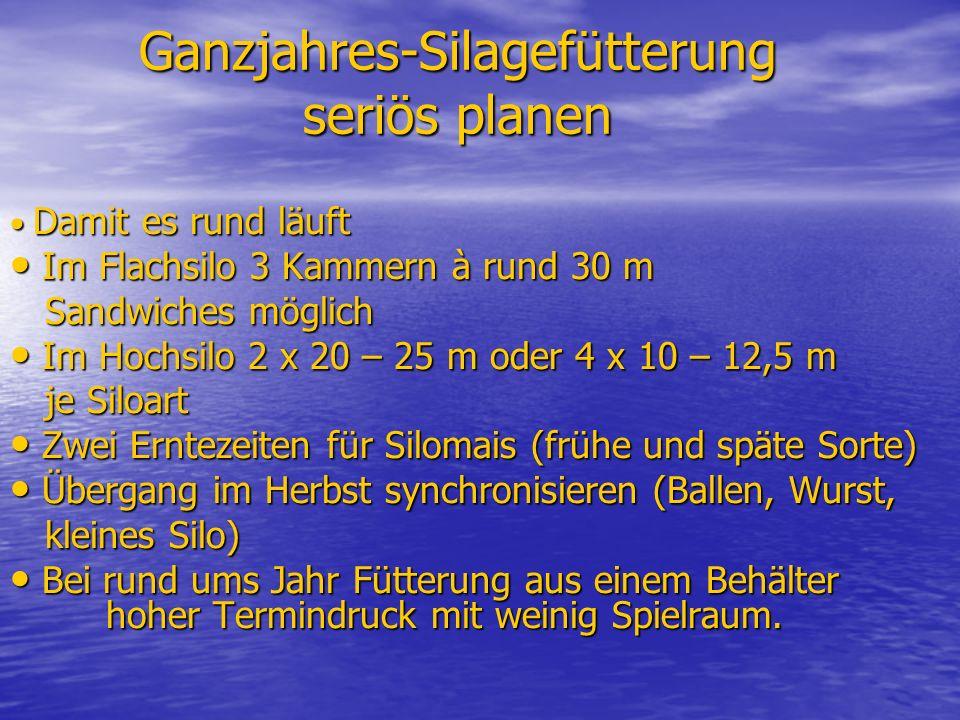 Ganzjahres-Silagefütterung seriös planen Damit es rund läuft Damit es rund läuft Im Flachsilo 3 Kammern à rund 30 m Im Flachsilo 3 Kammern à rund 30 m Sandwiches möglich Sandwiches möglich Im Hochsilo 2 x 20 – 25 m oder 4 x 10 – 12,5 m Im Hochsilo 2 x 20 – 25 m oder 4 x 10 – 12,5 m je Siloart je Siloart Zwei Erntezeiten für Silomais (frühe und späte Sorte) Zwei Erntezeiten für Silomais (frühe und späte Sorte) Übergang im Herbst synchronisieren (Ballen, Wurst, Übergang im Herbst synchronisieren (Ballen, Wurst, kleines Silo) kleines Silo) Bei rund ums Jahr Fütterung aus einem Behälter hoher Termindruck mit weinig Spielraum.
