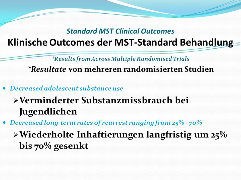 Standard MST Clinical Outcomes Klinische Outcomes der MST-Standard Behandlung *Results from Across Multiple Randomised Trials *Resultate von mehreren randomisierten Studien Decreased adolescent substance use Verminderter Substanzmissbrauch bei Jugendlichen Decreased long-term rates of rearrest ranging from 25% - 70% Wiederholte Inhaftierungen langfristig um 25% bis 70% gesenkt