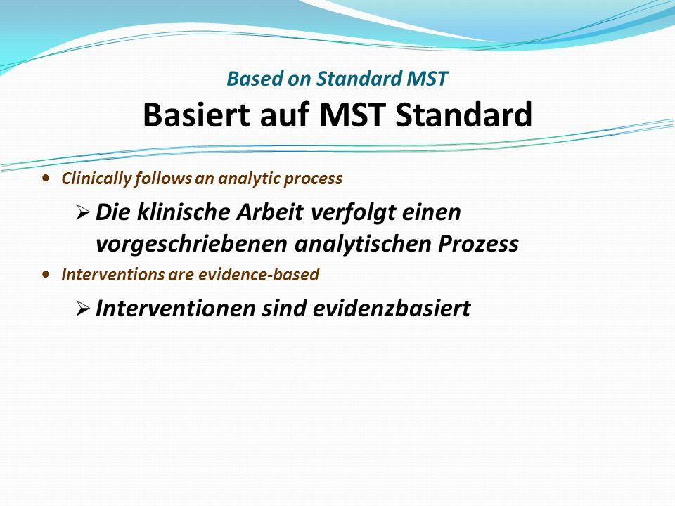 Based on Standard MST Basiert auf MST Standard Clinically follows an analytic process Die klinische Arbeit verfolgt einen vorgeschriebenen analytischen Prozess Interventions are evidence-based Interventionen sind evidenzbasiert