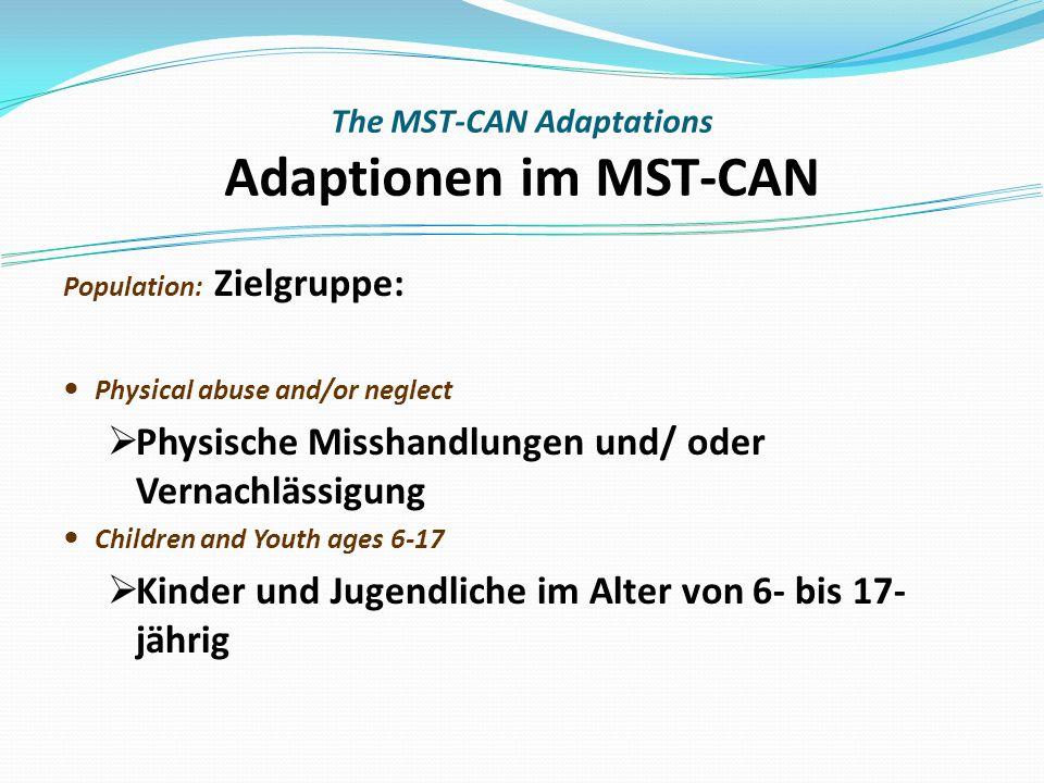 The MST-CAN Adaptations Adaptionen im MST-CAN Population: Zielgruppe: Physical abuse and/or neglect Physische Misshandlungen und/ oder Vernachlässigung Children and Youth ages 6-17 Kinder und Jugendliche im Alter von 6- bis 17- jährig