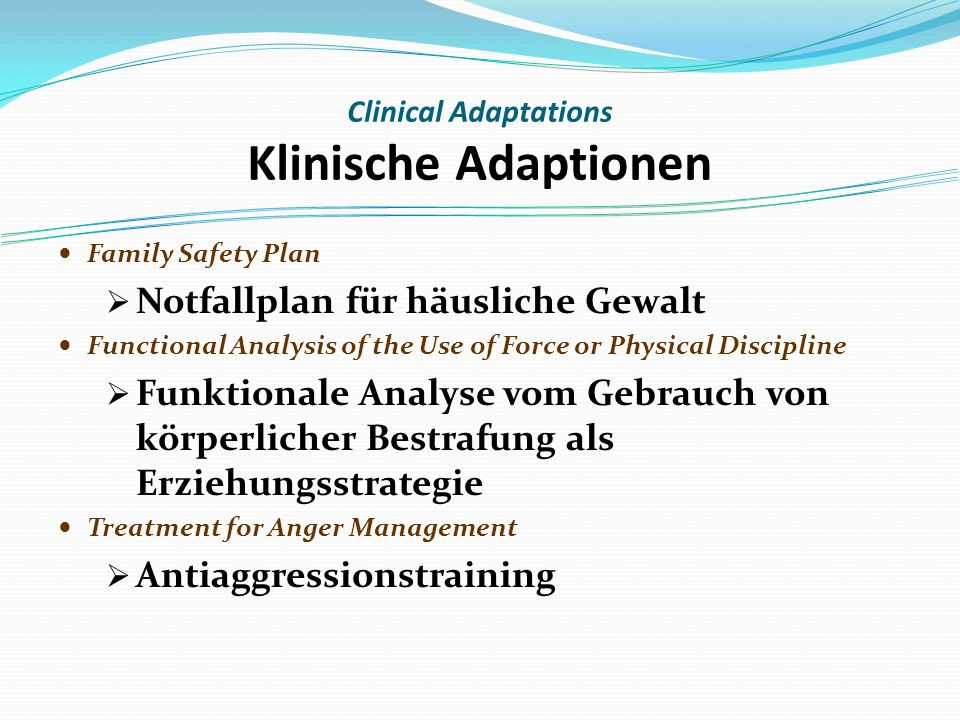 Family Safety Plan Notfallplan für häusliche Gewalt Functional Analysis of the Use of Force or Physical Discipline Funktionale Analyse vom Gebrauch von körperlicher Bestrafung als Erziehungsstrategie Treatment for Anger Management Antiaggressionstraining Clinical Adaptations Klinische Adaptionen