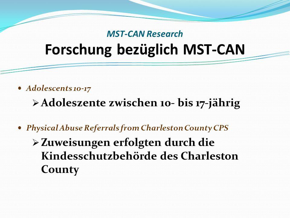 Adolescents 10-17 Adoleszente zwischen 10- bis 17-jährig Physical Abuse Referrals from Charleston County CPS Zuweisungen erfolgten durch die Kindesschutzbehörde des Charleston County MST-CAN Research Forschung bezüglich MST-CAN