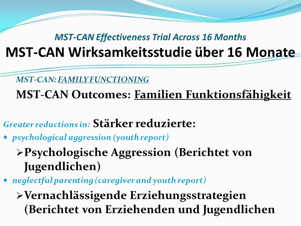 MST-CAN: FAMILY FUNCTIONING MST-CAN Outcomes: Familien Funktionsfähigkeit Greater reductions in: Stärker reduzierte: psychological aggression (youth report) Psychologische Aggression (Berichtet von Jugendlichen) neglectful parenting (caregiver and youth report) Vernachlässigende Erziehungsstrategien (Berichtet von Erziehenden und Jugendlichen MST-CAN Effectiveness Trial Across 16 Months MST-CAN Wirksamkeitsstudie über 16 Monate