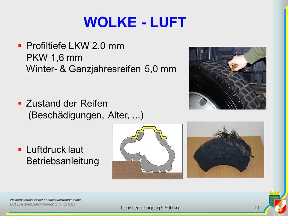 Lenkberechtigung 5.500 kg10 WOLKE - LUFT Profiltiefe LKW 2,0 mm PKW 1,6 mm Winter- & Ganzjahresreifen 5,0 mm Zustand der Reifen (Beschädigungen, Alter,...) Luftdruck laut Betriebsanleitung