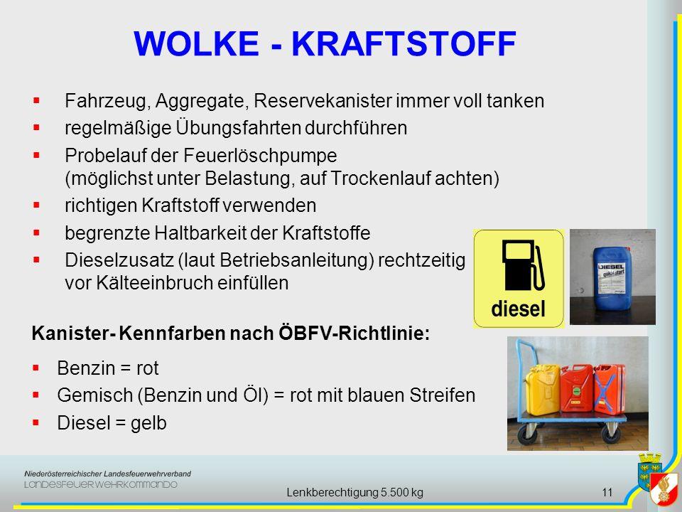 Lenkberechtigung 5.500 kg11 WOLKE - KRAFTSTOFF Fahrzeug, Aggregate, Reservekanister immer voll tanken regelmäßige Übungsfahrten durchführen Probelauf der Feuerlöschpumpe (möglichst unter Belastung, auf Trockenlauf achten) richtigen Kraftstoff verwenden begrenzte Haltbarkeit der Kraftstoffe Dieselzusatz (laut Betriebsanleitung) rechtzeitig vor Kälteeinbruch einfüllen Benzin = rot Gemisch (Benzin und Öl) = rot mit blauen Streifen Diesel = gelb Kanister- Kennfarben nach ÖBFV-Richtlinie:
