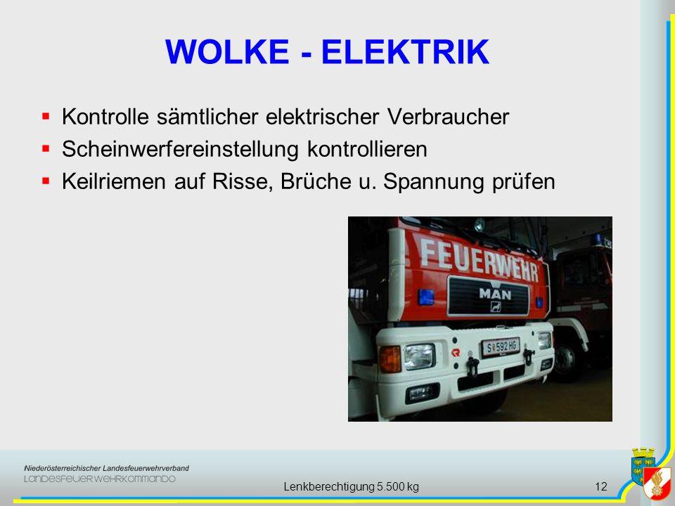 Lenkberechtigung 5.500 kg12 WOLKE - ELEKTRIK Kontrolle sämtlicher elektrischer Verbraucher Scheinwerfereinstellung kontrollieren Keilriemen auf Risse, Brüche u.