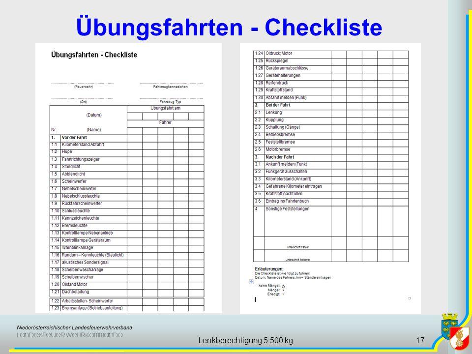 Lenkberechtigung 5.500 kg17 Übungsfahrten - Checkliste