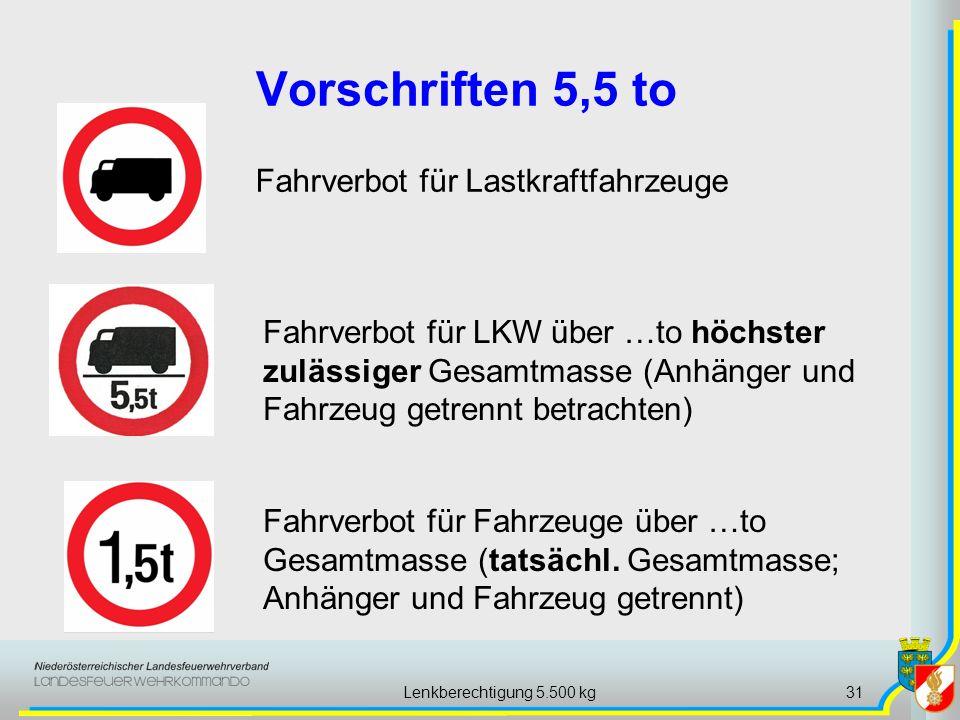 Lenkberechtigung 5.500 kg31 Vorschriften 5,5 to Fahrverbot für Lastkraftfahrzeuge Fahrverbot für Fahrzeuge über …to Gesamtmasse (tatsächl.