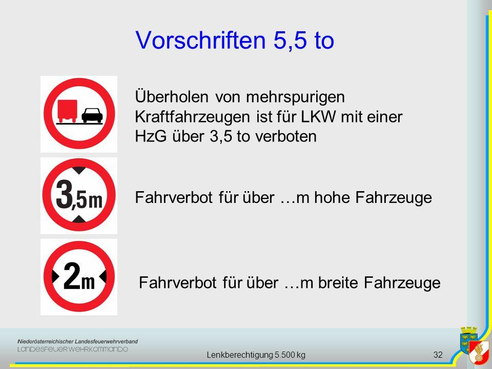 Lenkberechtigung 5.500 kg32 Vorschriften 5,5 to Fahrverbot für über …m hohe Fahrzeuge Fahrverbot für über …m breite Fahrzeuge Überholen von mehrspurigen Kraftfahrzeugen ist für LKW mit einer HzG über 3,5 to verboten