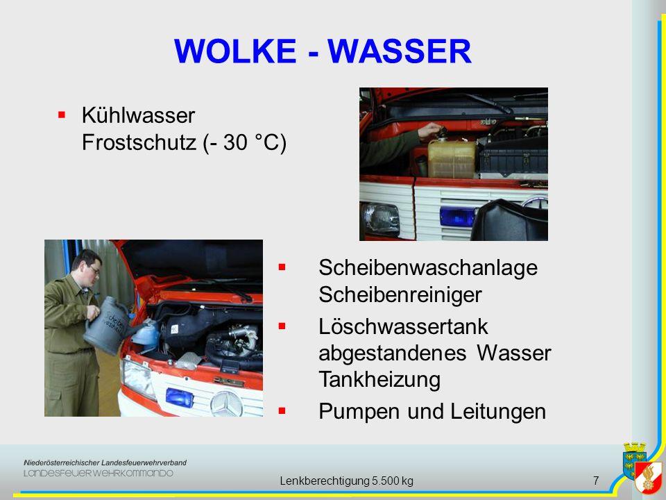Lenkberechtigung 5.500 kg7 WOLKE - WASSER Kühlwasser Frostschutz (- 30 °C) Scheibenwaschanlage Scheibenreiniger Löschwassertank abgestandenes Wasser Tankheizung Pumpen und Leitungen