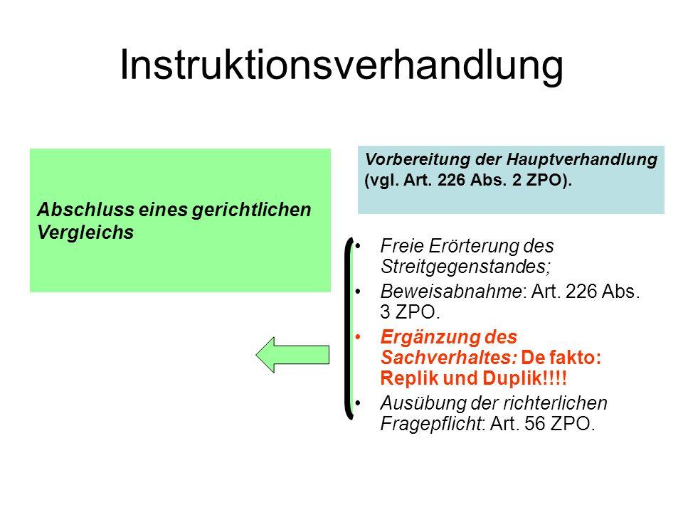 Instruktionsverhandlung Freie Erörterung des Streitgegenstandes; Beweisabnahme: Art.