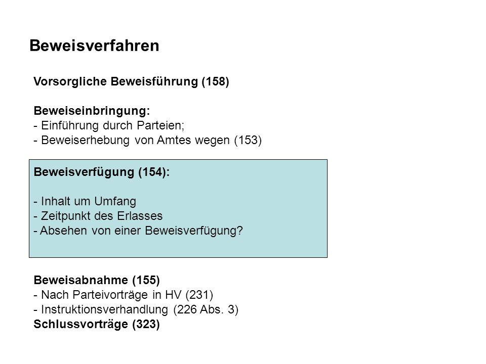 Beweisverfahren Beweisverfügung (154): - Inhalt um Umfang - Zeitpunkt des Erlasses - Absehen von einer Beweisverfügung.
