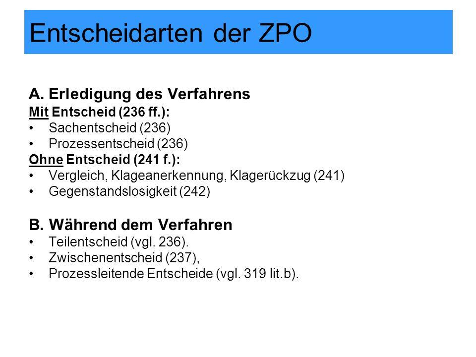 Entscheidarten der ZPO A.Erledigung des Verfahrens Mit Entscheid (236 ff.): Sachentscheid (236) Prozessentscheid (236) Ohne Entscheid (241 f.): Vergleich, Klageanerkennung, Klagerückzug (241) Gegenstandslosigkeit (242) B.