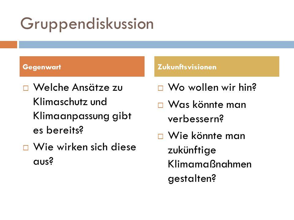 Gruppendiskussion Welche Ansätze zu Klimaschutz und Klimaanpassung gibt es bereits.
