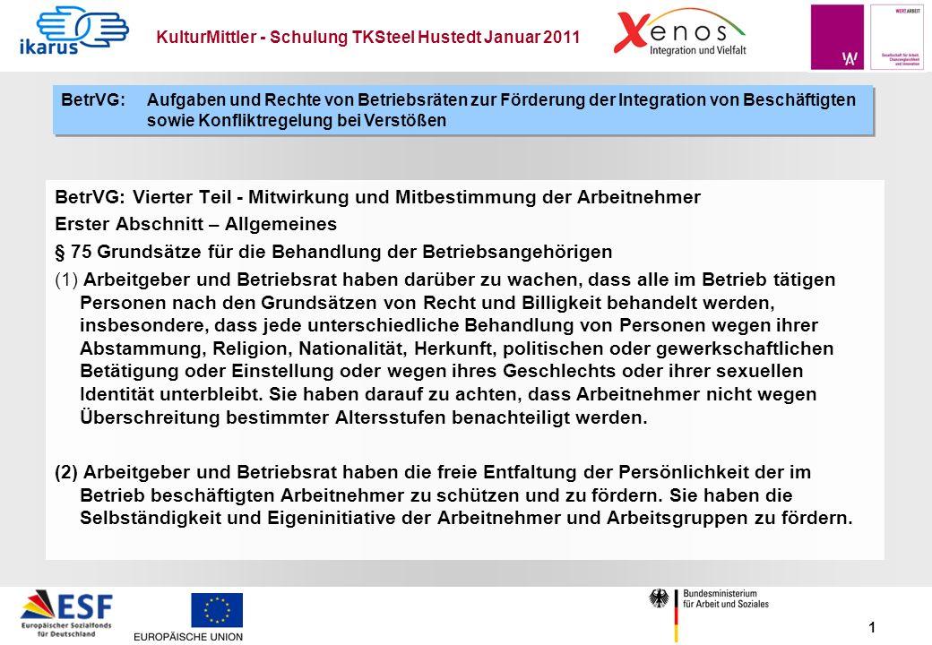 KulturMittler - Schulung TKSteel Hustedt Januar 2011 1 BetrVG: Vierter Teil - Mitwirkung und Mitbestimmung der Arbeitnehmer Erster Abschnitt – Allgeme