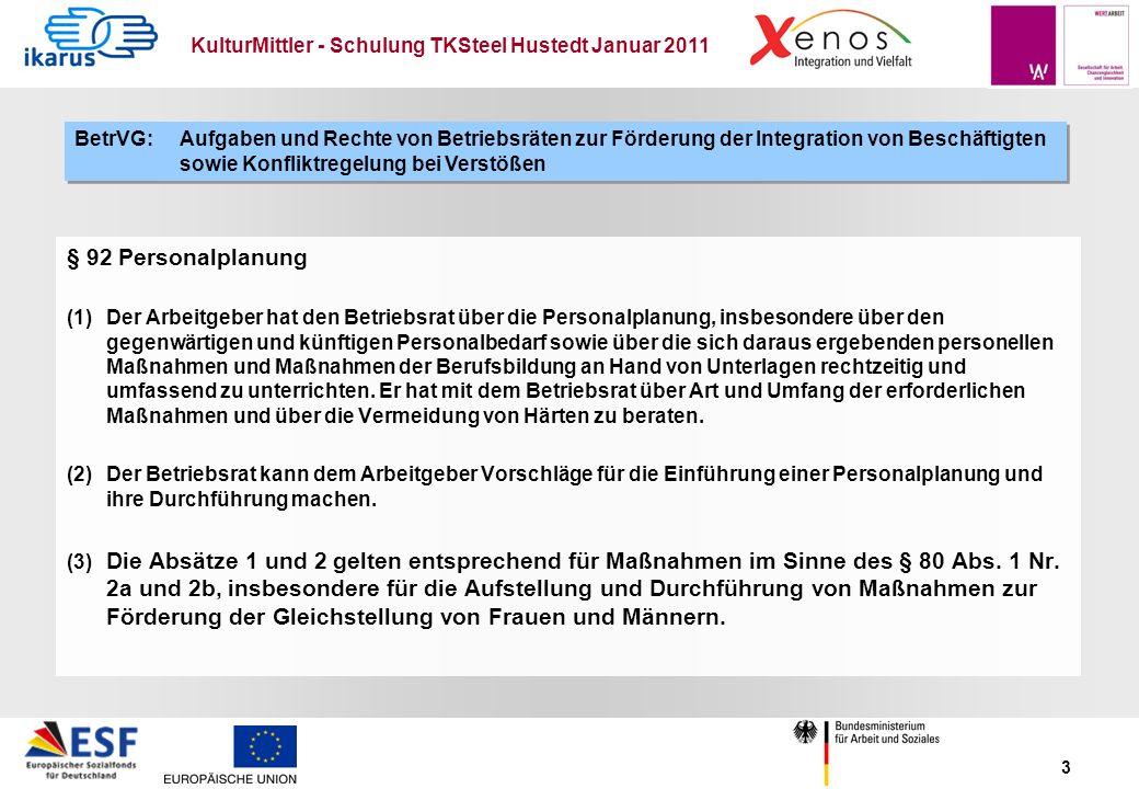 KulturMittler - Schulung TKSteel Hustedt Januar 2011 3 § 92 Personalplanung (1) Der Arbeitgeber hat den Betriebsrat über die Personalplanung, insbeson