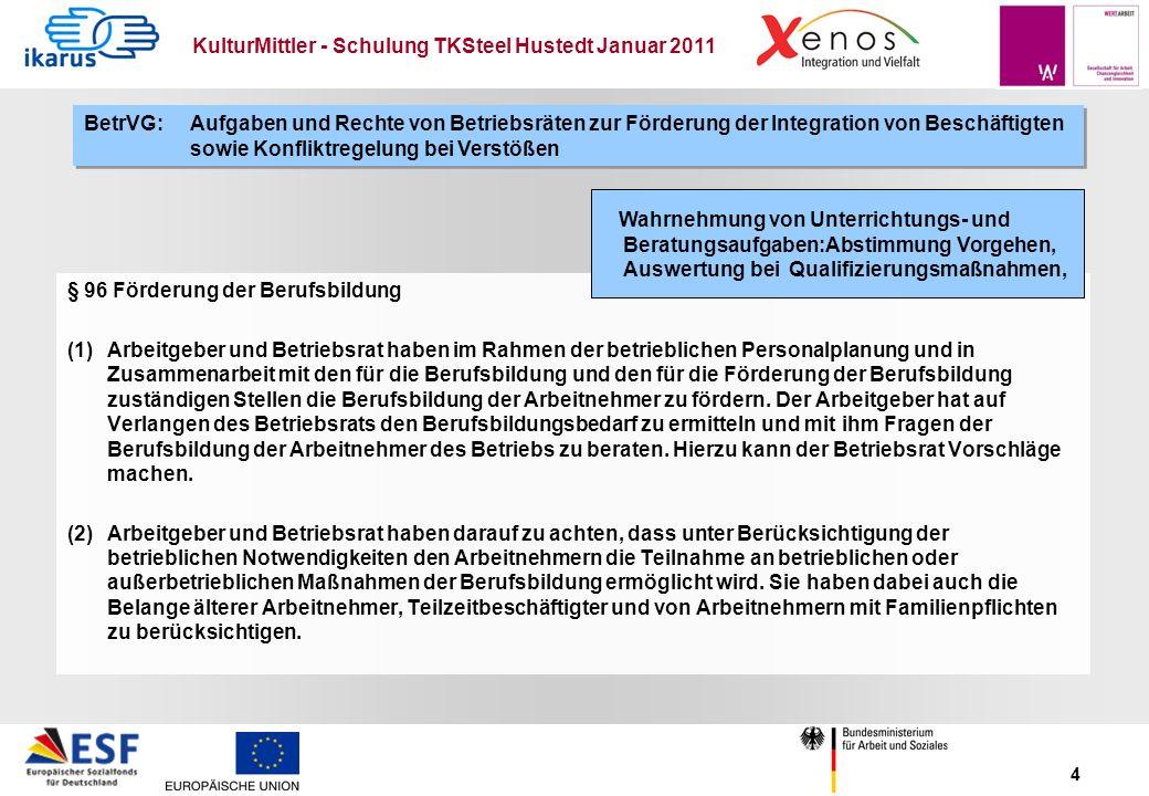 KulturMittler - Schulung TKSteel Hustedt Januar 2011 4 § 96 Förderung der Berufsbildung (1) Arbeitgeber und Betriebsrat haben im Rahmen der betrieblic