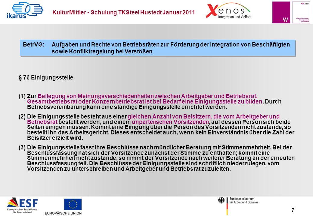 KulturMittler - Schulung TKSteel Hustedt Januar 2011 7 § 76 Einigungsstelle (1) Zur Beilegung von Meinungsverschiedenheiten zwischen Arbeitgeber und B