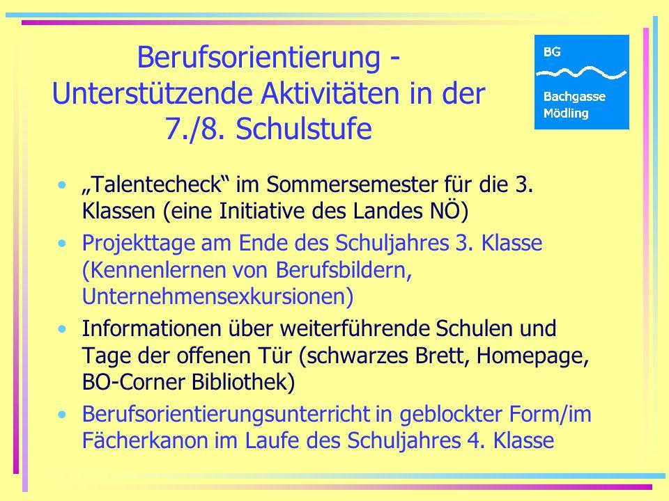 Berufsorientierung - Unterstützende Aktivitäten in der 7./8.
