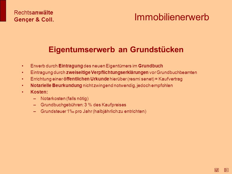 Immobilienerwerb Rechtsanwälte Gençer & Coll.