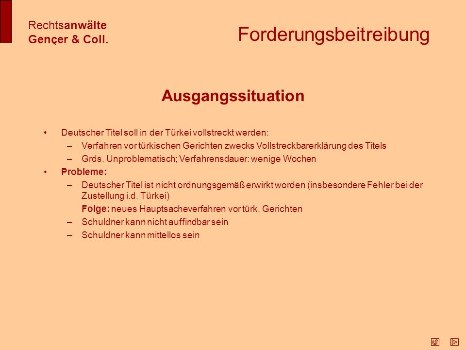 Forderungsbeitreibung Rechtsanwälte Gençer & Coll.