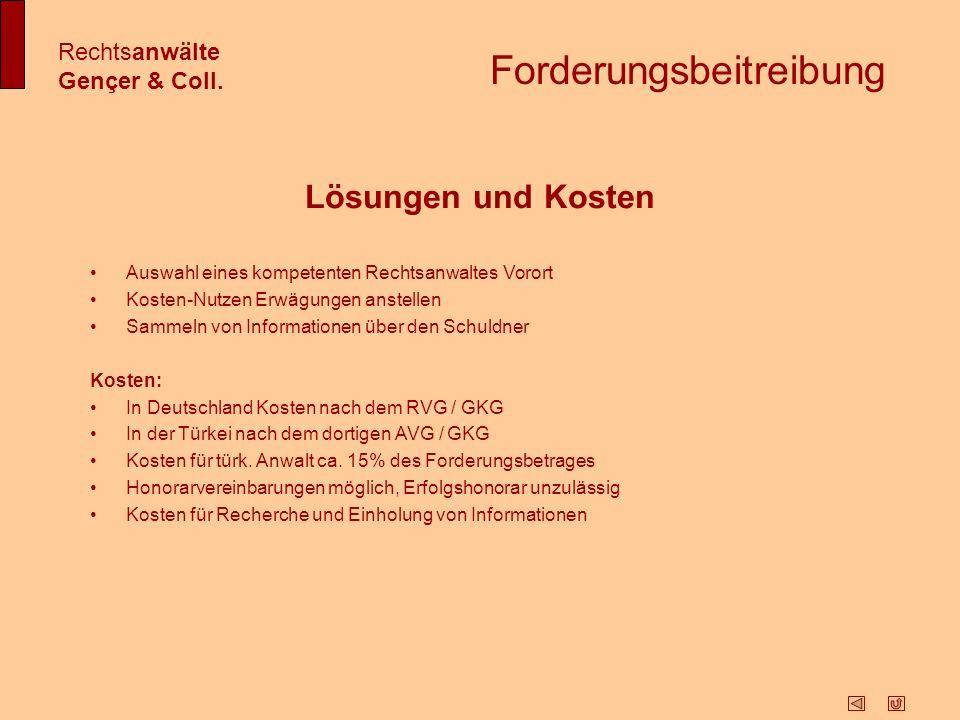 Zwangsvollstreckung Rechtsanwälte Gençer & Coll.