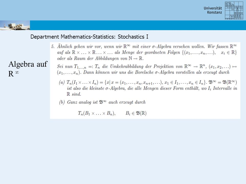 Department Mathematics-Statistics: Stochastics I Algebra auf R