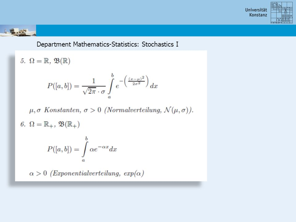 Department Mathematics-Statistics: Stochastics I