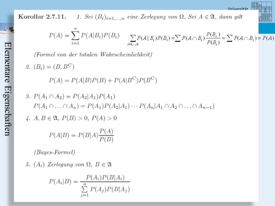 Department Mathematics-Statistics: Stochastics I ??? Elementare Eigenschaften