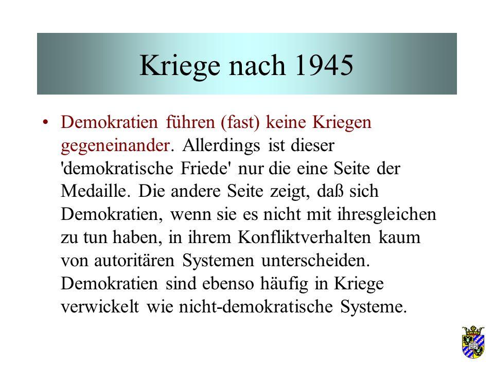 Kriege nach 1945 Demokratien führen (fast) keine Kriegen gegeneinander. Allerdings ist dieser 'demokratische Friede' nur die eine Seite der Medaille.