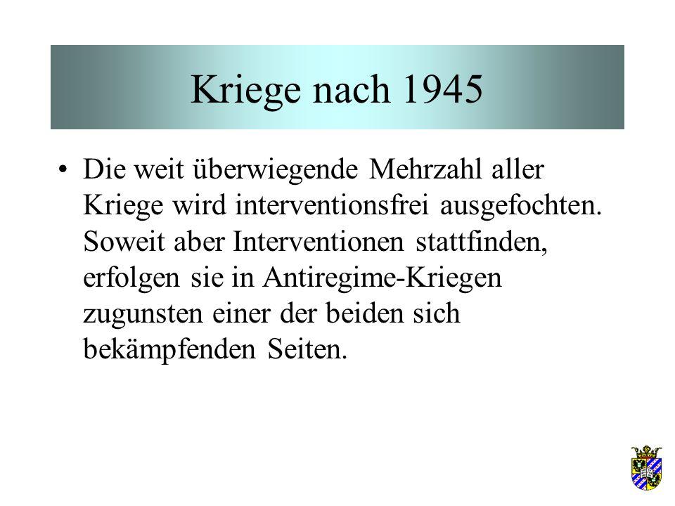 Kriege nach 1945 Die weit überwiegende Mehrzahl aller Kriege wird interventionsfrei ausgefochten.