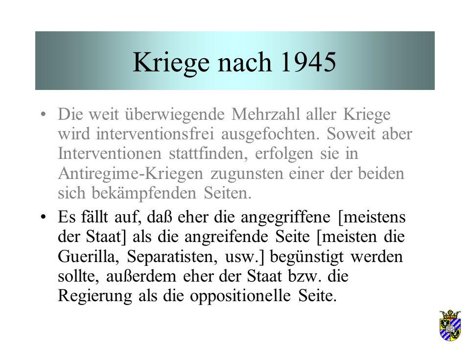 Kriege nach 1945 Die weit überwiegende Mehrzahl aller Kriege wird interventionsfrei ausgefochten. Soweit aber Interventionen stattfinden, erfolgen sie