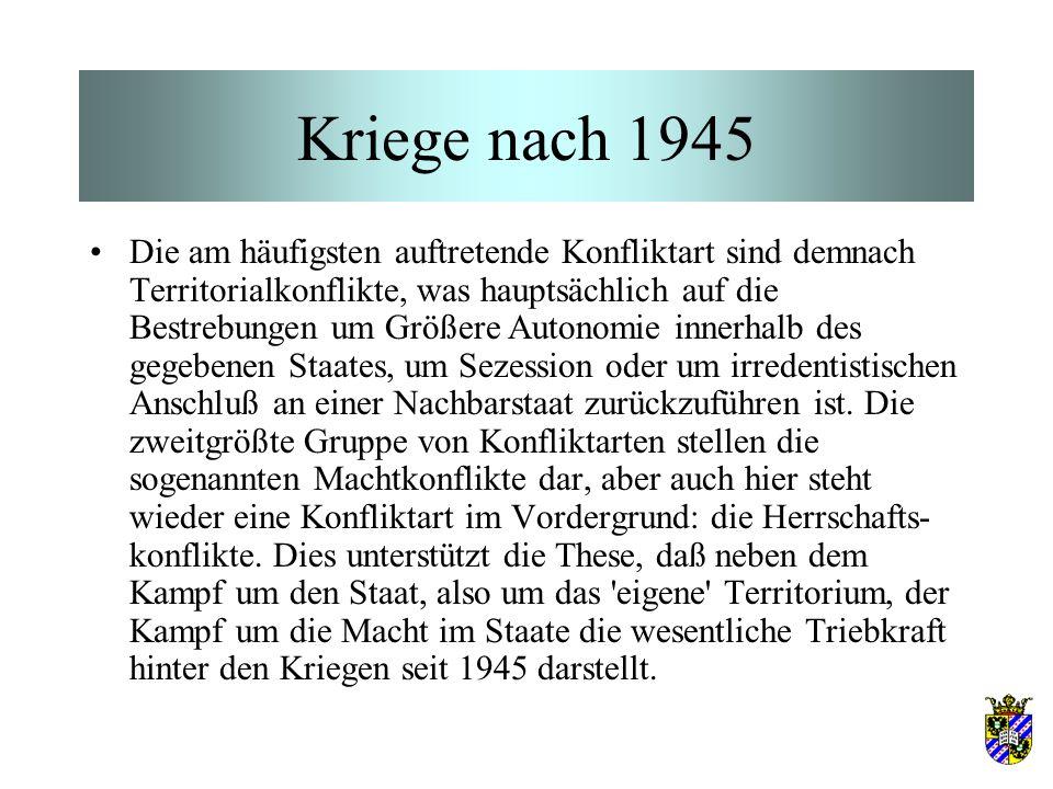 Kriege nach 1945 Die am häufigsten auftretende Konfliktart sind demnach Territorialkonflikte, was hauptsächlich auf die Bestrebungen um Größere Autono