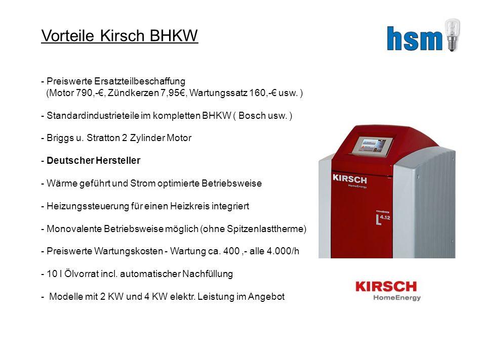 Vorteile Kirsch BHKW - Preiswerte Ersatzteilbeschaffung (Motor 790,-, Zündkerzen 7,95, Wartungssatz 160,- usw.