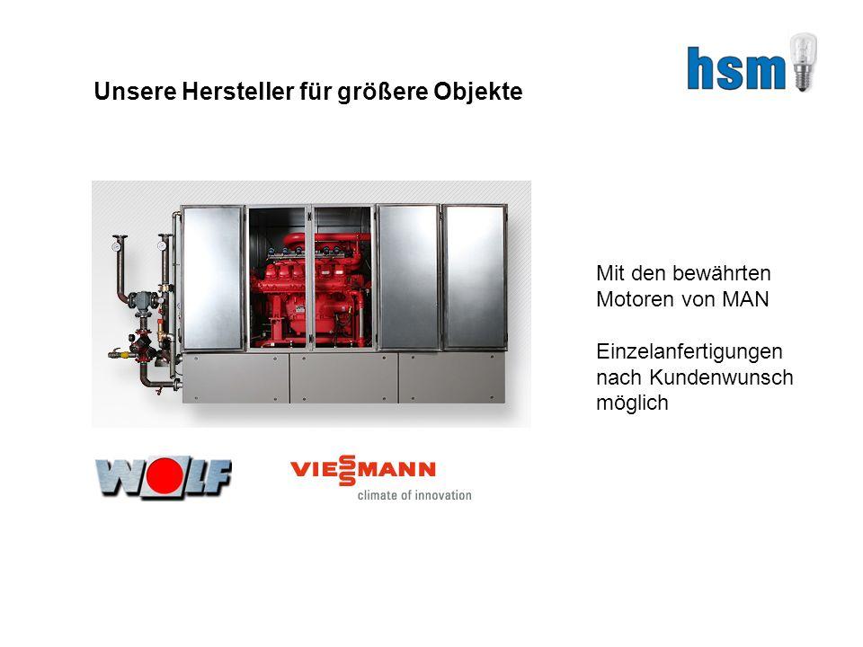 Unsere Hersteller für größere Objekte Mit den bewährten Motoren von MAN Einzelanfertigungen nach Kundenwunsch möglich