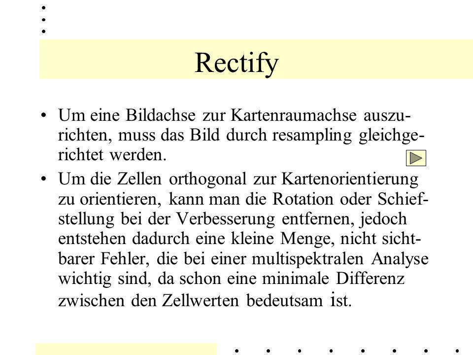 Rectify Ist die Konvertierung eines Bildes von Bild- koordinaten zu Kartenkoordinaten, d.h.