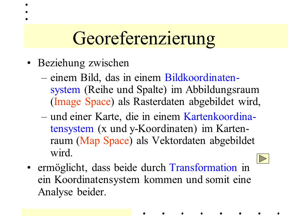 Georeferenzierung Verknüpfung von Bild - und Vektordaten