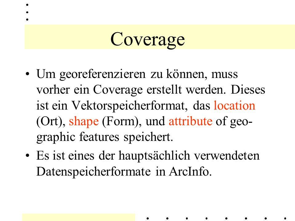 GEOREFERENZIERUNG Georeferenzierung besteht aus 3 Arbeits- schritte Coverage (Speicherung; hier: Passpunkte) Registristrieren (Erfassung, Tabelle) Rektification (Verbesserung, Gleichrichten)