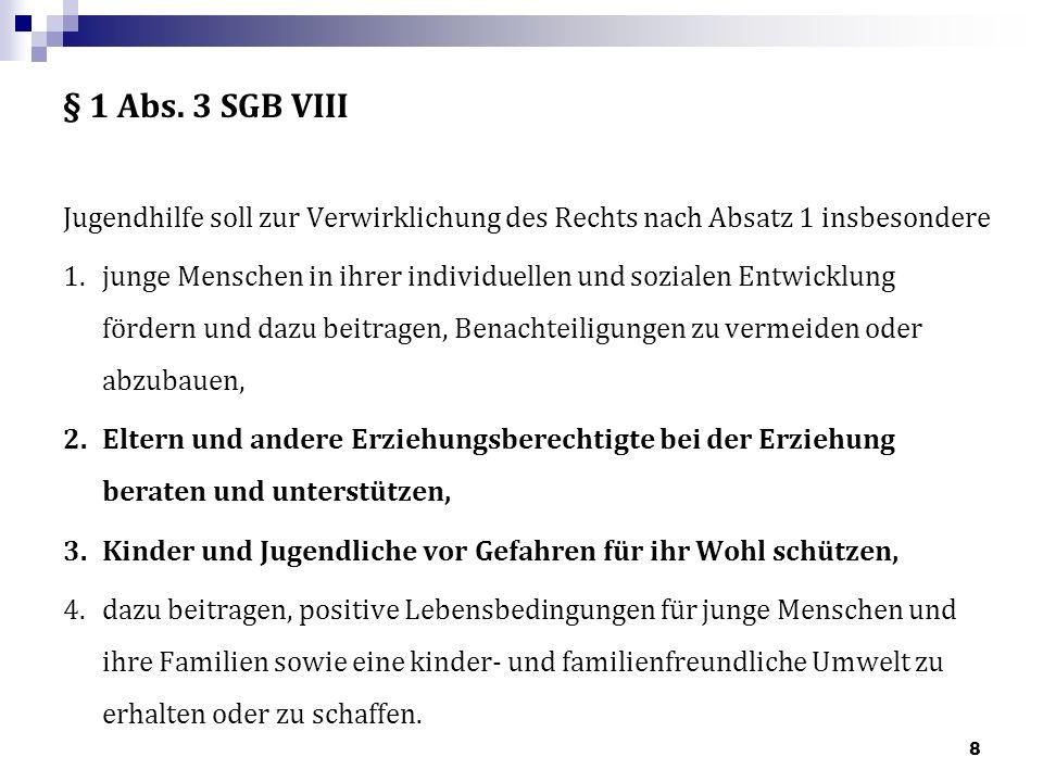 § 1 Abs.3 SGB VIII Jugendhilfe soll zur Verwirklichung des Rechts nach Absatz 1 insbesondere 1.