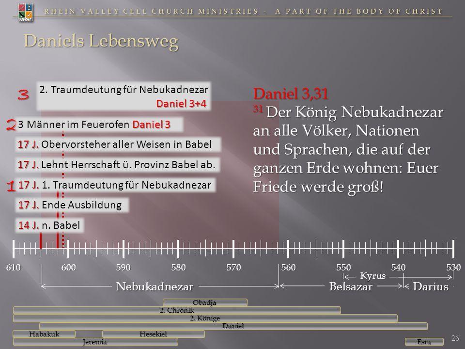RHEIN VALLEY CELL CHURCH MINISTRIES - A PART OF THE BODY OF CHRIST 610600590580570560550540530 Daniels Lebensweg Daniel 3+4 2. Traumdeutung für Nebuka