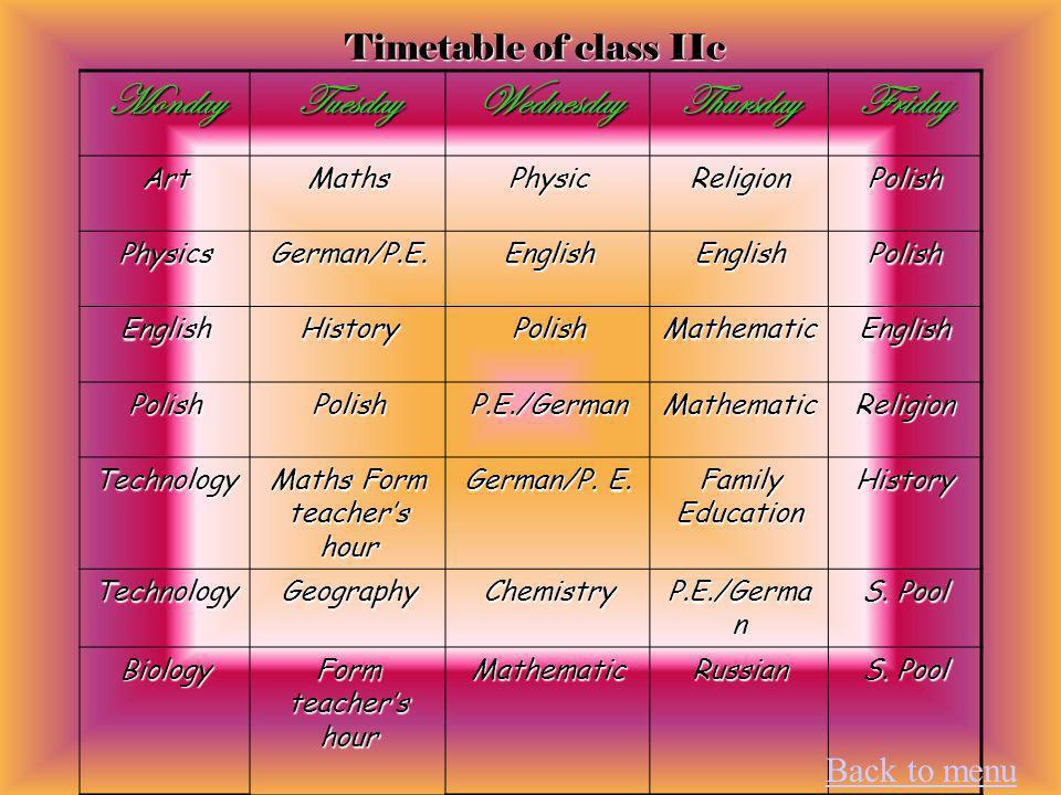Timetable of class IIc MondayTuesdayWednesdayThursdayFriday ArtMathsPhysicReligionPolish PhysicsGerman/P.E.EnglishEnglishPolish EnglishHistoryPolishMathematicEnglish PolishPolishP.E./GermanMathematicReligion Technology Maths Form teachers hour German/P.