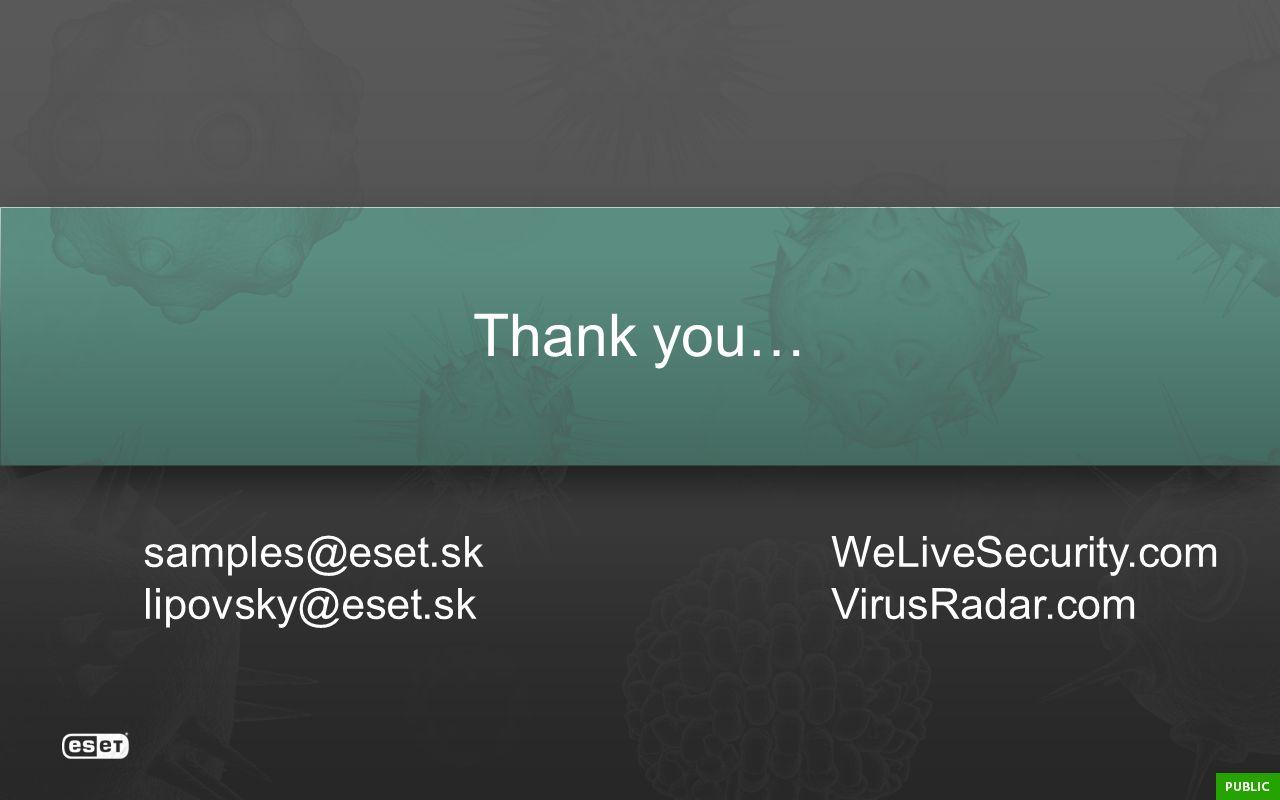 Thank you… samples@eset.sk lipovsky@eset.sk WeLiveSecurity.com VirusRadar.com