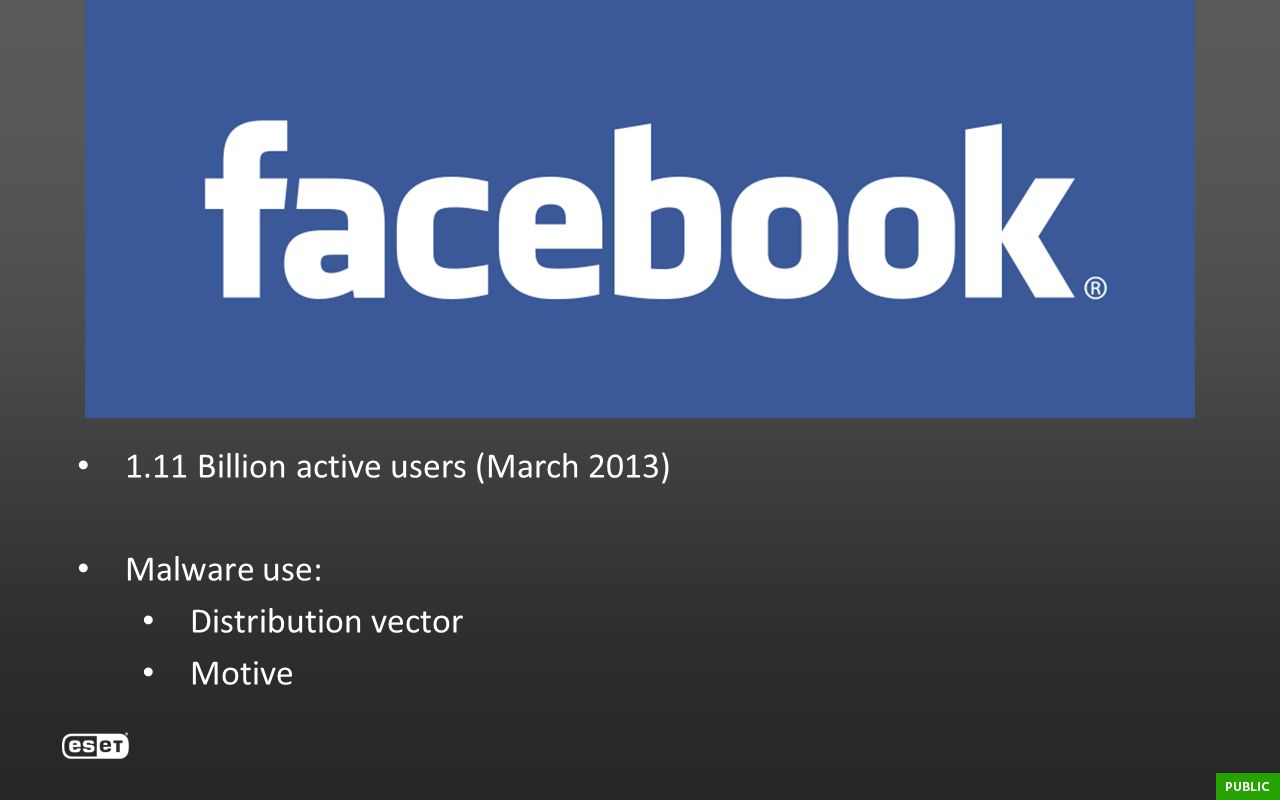 Facebook 1.11 Billion active users (March 2013) Malware use: Distribution vector Motive