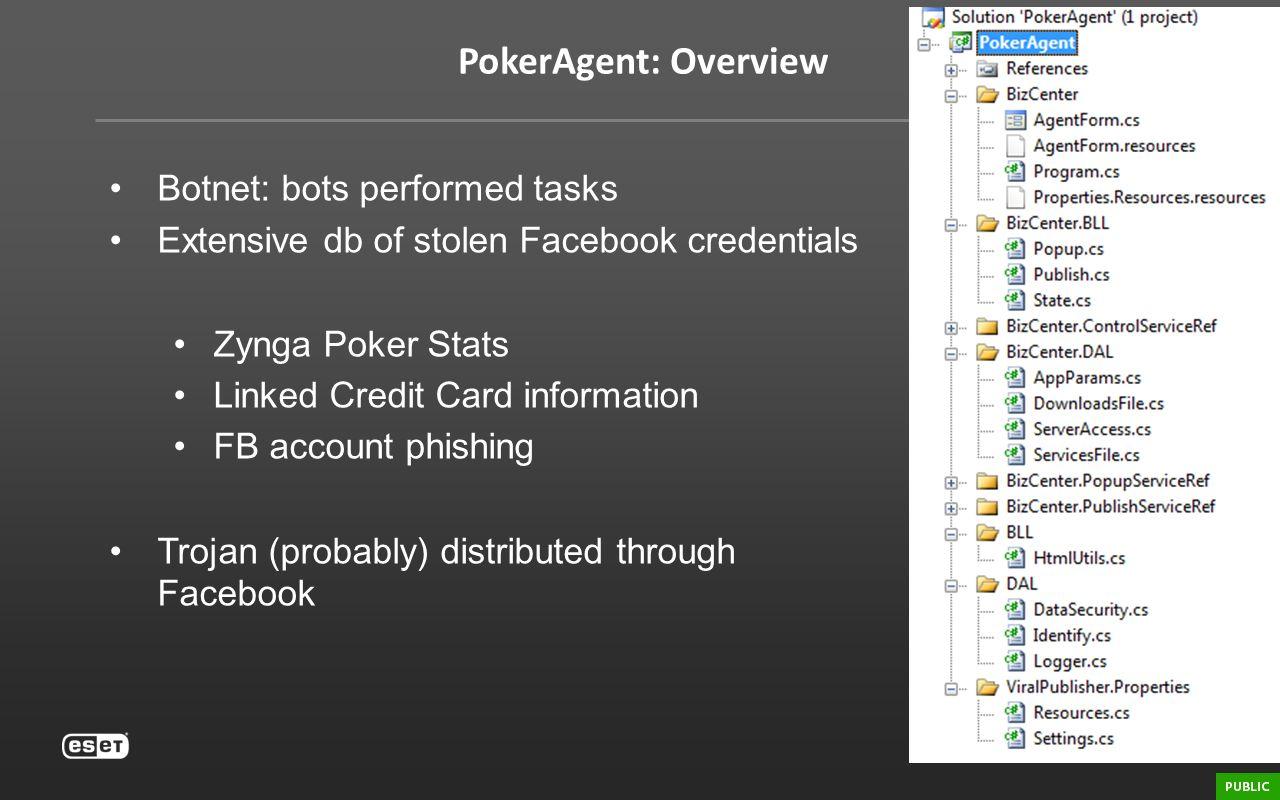 PokerAgent: Overview Botnet: bots performed tasks Extensive db of stolen Facebook credentials Zynga Poker Stats Linked Credit Card information FB acco