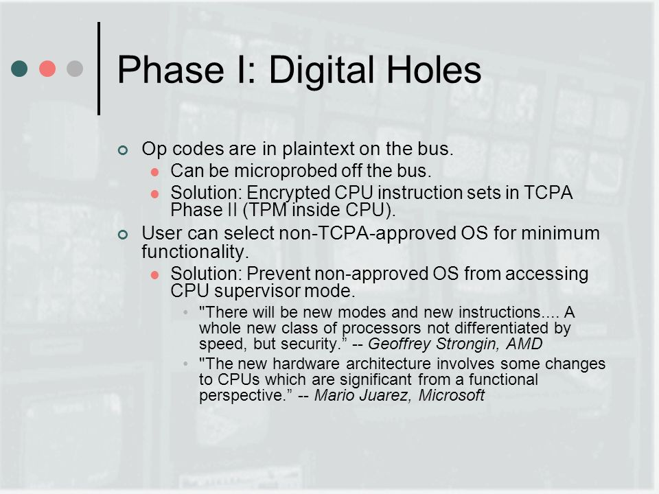 Phase I: Digital Holes Op codes are in plaintext on the bus.