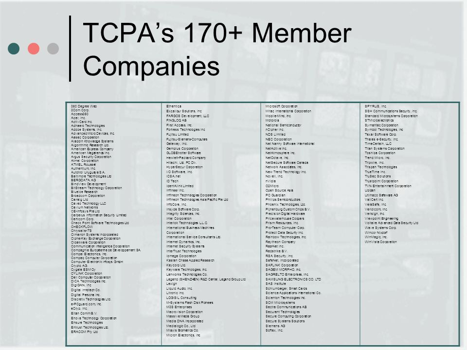 TCPAs 170+ Member Companies 360 Degree Web 3Com Corp. Access360 Acer, Inc. ActivCard Inc. Adhaero Technologies Adobe Systems, Inc. Advanced Micro Devi