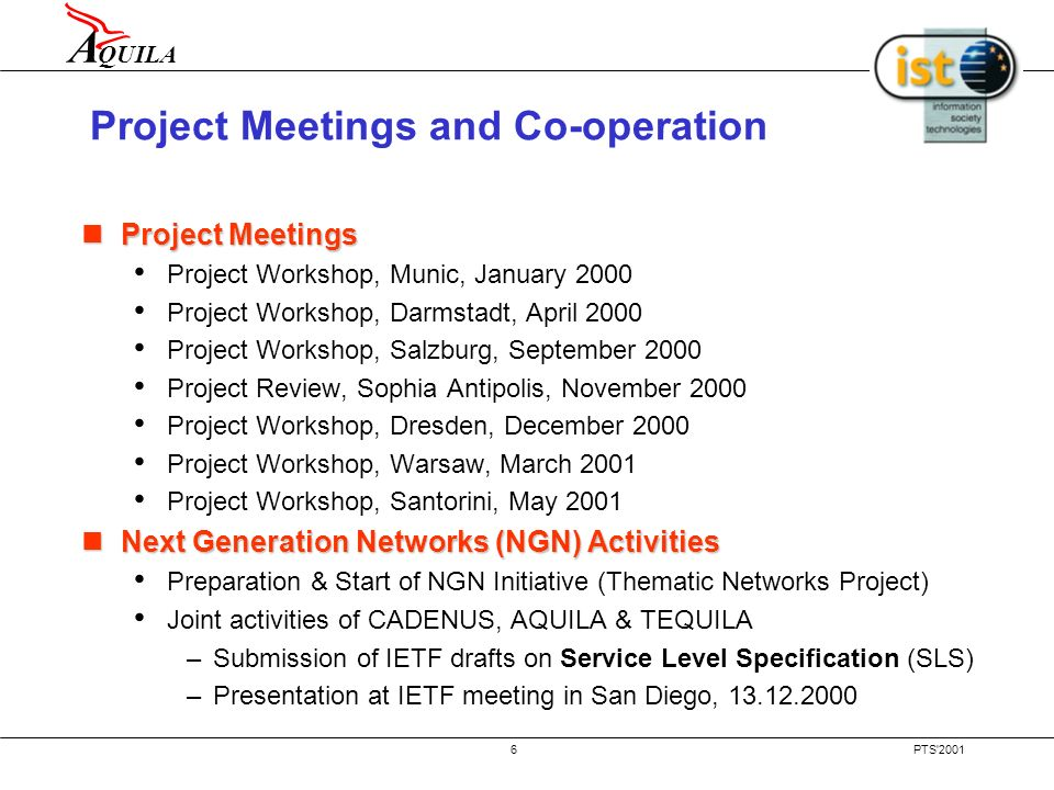 A QUILA PTS'20015 Work Brake Down Workpackage 0: Project Management Workpackage 0: Project Management Workpackage 1: System Architecture and Traffic I